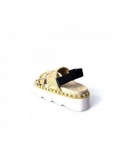 Mou - 271001D BELT LOGO New bio sandal Oro